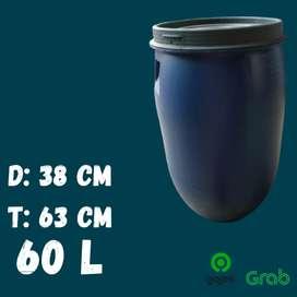 Drum Air Plastik 60 Liter Besar Tempat Sampah Ember Baskom HDPE Tebal