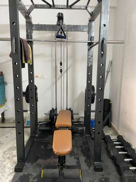 Home gym - Squat rack, Dumbells, weight plate, Rods, 3/1 bench, mats