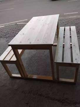 Meja makan + kursi full papan