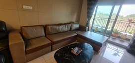 Contemporary couch, plush cushions, day bed, designer brass legs!!!