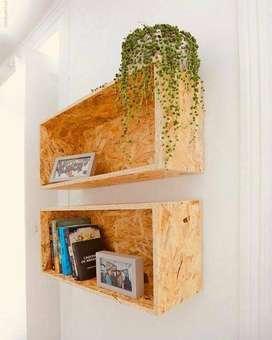 Rak Dinding Pajangan Modern Serat Abstrak // Waferboard