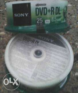 Sony Blank DVDR-DL 8.5 GB Data 25 Disk Spindle Bunch