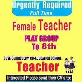 required female Teacher for pre primary to 8th school