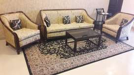 Teakwood fully covered Sofa Set in Good condition