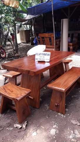 Ready stock set meja cafe trembesi solid free ongkir