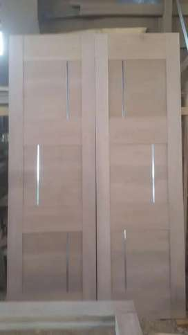 1set kusen (kusen pintu+Daun pintu+Loster) kayu Meranti Bayur