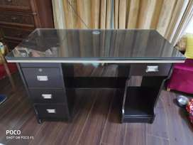 Dark Brown Wooden Study Table with Glass top