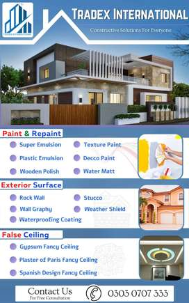 Why worry for Paint work? Paint, Rock Wall, False Ceiling, Polish Work