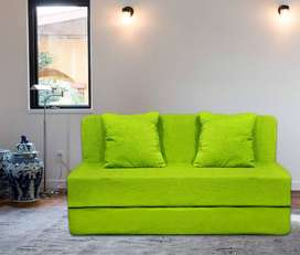 Sofa cum bed 6x3 with cushion and soft cotton velvet touch fabric