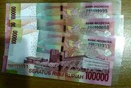 Uang kertas 100ribu seri cantik 3 lembar solid 7 8 dan 9
