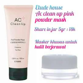 Etude house ac clean up pink powder mask share in jar 5gr
