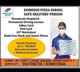 Dominos Pizza vacancy for Delivery Boy.