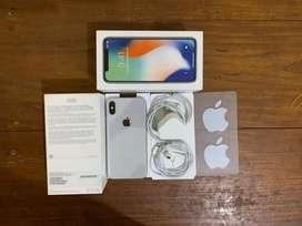 iPhone X 64gb silver fullset original mulus