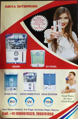 Water purifier RO, UV, ALKALINE, UF all types are available here