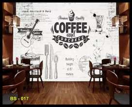 Wallpaper dinding custom kafe klasik