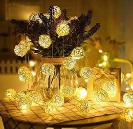 LAMPU HIAS DEKORASI BOLA ROTAN STRING FAIRY 1.2 METER 10 LED