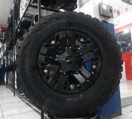 velg mobil sawah besar Ring 17x9 plus ban MT  buat pajero & fortuner