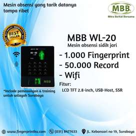 MBB WL20 Mesin Absensi Fingerprint Fitur Wifi Tarik Data Anti Ribet