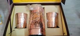 Pure and New Copper Water holder with two glasses.