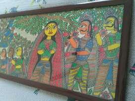 Big size Madhubani Painting on Silk