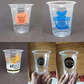 SABLON LOGO GELAS PLASTIK CUP PP 12oz s/d 18oz 7gram
