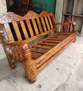 Solid (brand new) pure Mysore teakwood wooden sofa set with cushion
