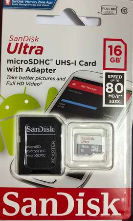 SanDisk 16gb Ultra SD card 80MB/S