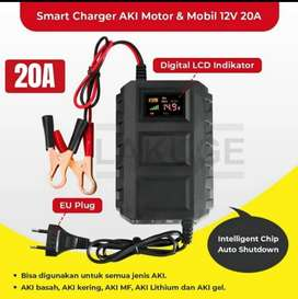 Charger aki mobil motor 12V/20A smart intelligent chip LCD indicator
