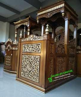 Mimbar podium masjid ukir kayu jati solid mewah