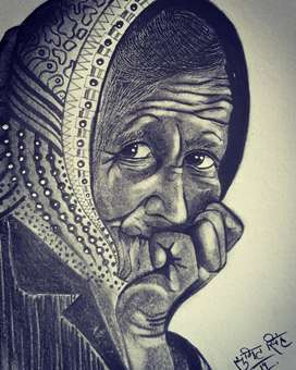 sketch of a old lady