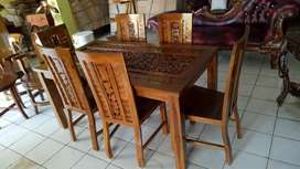 Meja makan Jati Kursi 6