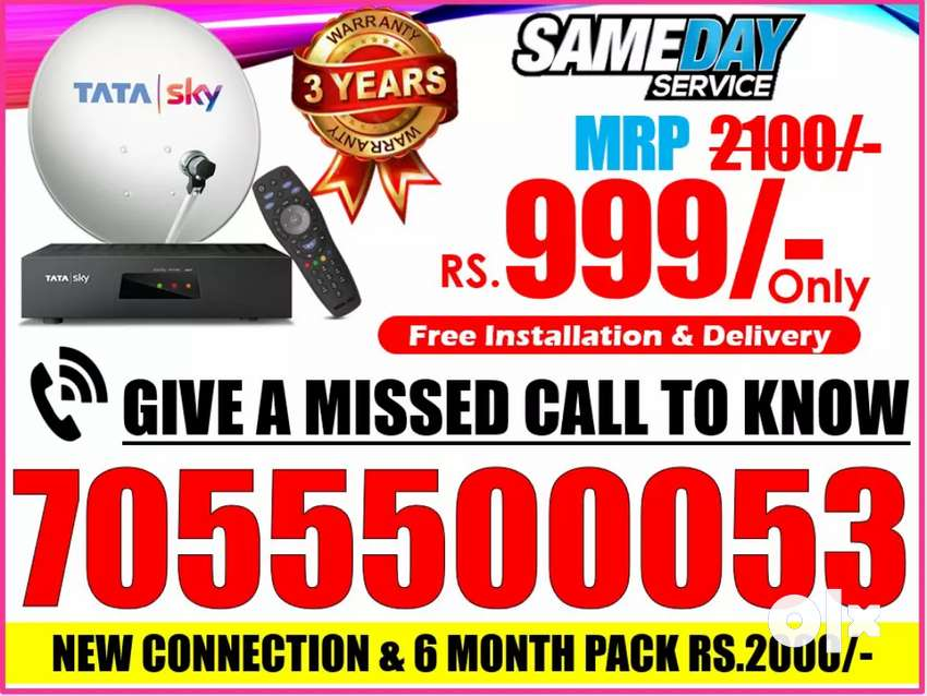 NEW CONNECTION & 6 MONTH PACK 2000 TATA SKY DISH TATASKY AIRTEL TV HD 0