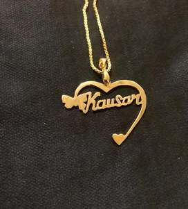 Gold pated name necklace