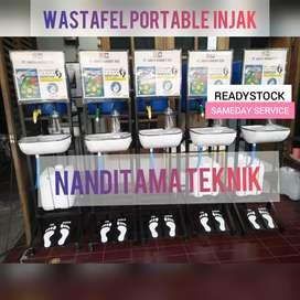 Wastafel (portable, portabel, injak, tnpa sentuh tangan)