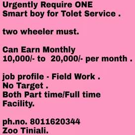 Urgently Require 1 Male Candidates with two wheeler for Tolet Service