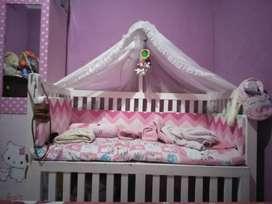 Box bayi kayu,tempat tidur bayi, full set,  ukuran 140
