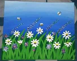 Daisy flower garden painting