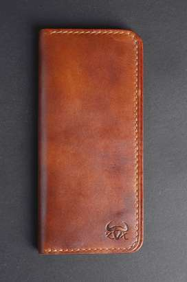 100% premium leather long wallet with hand stitched