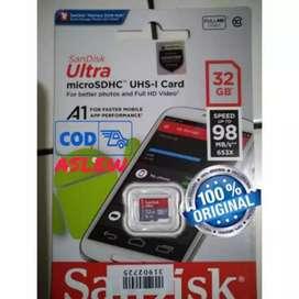 Memori 32 GB 100% Original Sandisk A1 Garansi Resmi