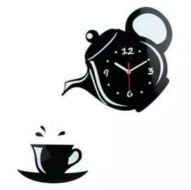 Teko Cangkir Jam Dinding /Teapot Cup DIY Big Wall Clock Diameter 40-70