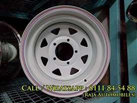 White Color Steel Rims for Thar and Jeeps Gypsy
