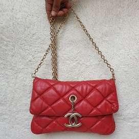 Chanel merah kulit asli made in France sling bag