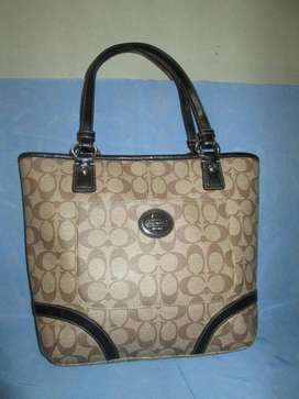 COACH Authentic F18917 Heritage Peyton Brown PVC Tote mulus