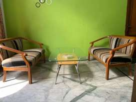 2 seater 2 sofas with glass table
