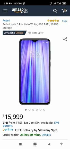 Mi Note 8 pro white 6/128gb sealed pack mobile