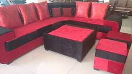 7 seater with 2 side seats plus glass center table.