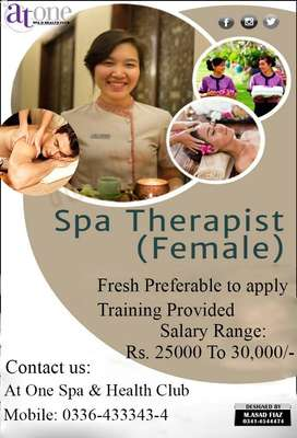 Good looking female spa therapist required