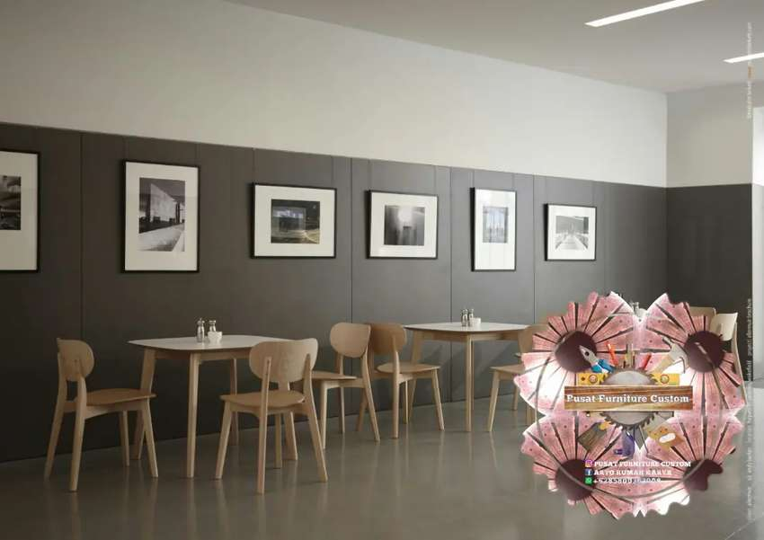 (PROMO) Meja Kursi Set Cafe Lengkung