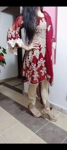 Redish mehron short frok with dupata and capri wedding dress for sale
