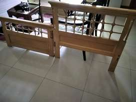 Wooden Single Beds with Side Tables